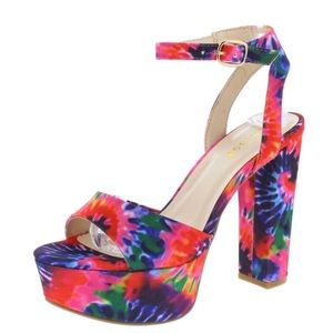 70's Tie dye platform chunky heel with ankle strap
